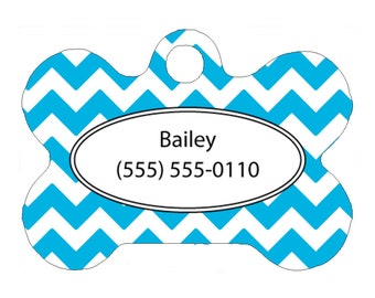 Custom Pet Tag, Dog Tag, One Sided, Personalized, ID Tag, Bone Shaped, Aluminum, Aqua Blue Chevron Design, Color Choice, Name, Phone Number