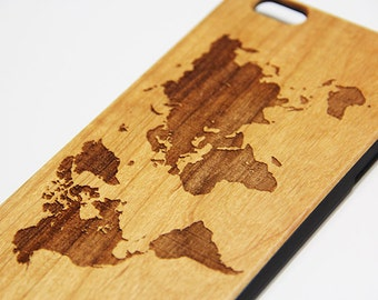 World Map Real Wood Engraved iPhone 7/6s/6 Case,iPhone 7/6s/6 plus case,SE/5/5s,Natural Wooden Samsung Galaxy S6/S7 Edge Case,Galaxy S5/S6