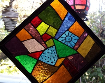 Abstract 18 Lead Free Stained Glass Window Panel