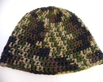 Crochet Head-hugger Cap, Zac Brown Beanie, Camouflage Hat, Crocheted Camo Hat