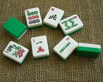 Green and White Mahjong Tiles - Mahjong Tiles for Crafts - Mahjongg Supplies