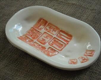 Mahjong Dish - Oriental Plate -  Mahjong Snack Plate - Mahjong Pottery - Oriental Bowl