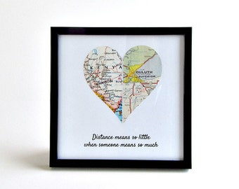 Long Distance Map Heart / Long Distance Anniversary Gift / Long Distance Gift for Boyfriend / LDR Girlfriend Gift / Birthday Distance Gift