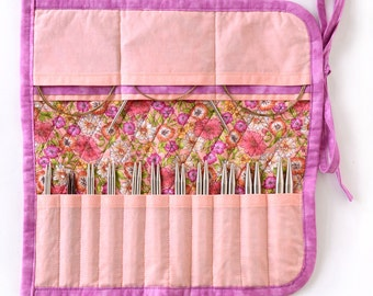 Interchangeable Knitting Needle Case 2016 edition - Peach and Pink