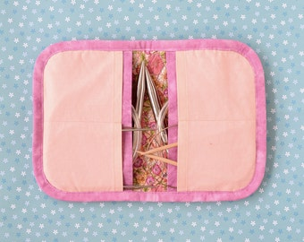 Big Circular Knitting Needle Case - Peach & Pink
