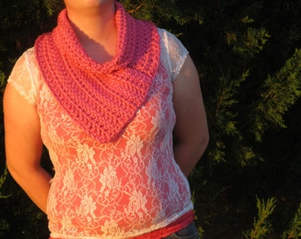 Cowl, Pink Cowl, Crochet Cowl, Christmas Gift, Gift for Her, Neck Warmer