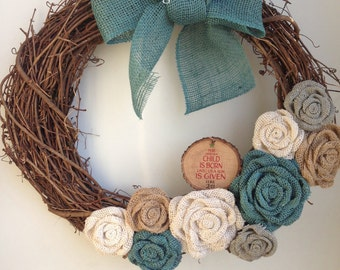18 inch Grapevine Wreath, For Unto Us... Luke 2:11 Ornament, Teal Turquoise, White, Neutral, Gray Burlap Flowers, Teal Bow, Christmas Wreath