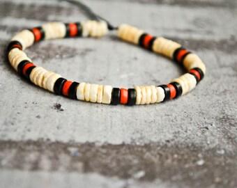 Native american tribal mens bracelet   ethnic jewelry   masaai bracelet   african jewelry   tribal wristband   mother of pearl disks