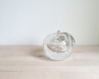 Large Controlled Bubble Glass Apple Paperweight