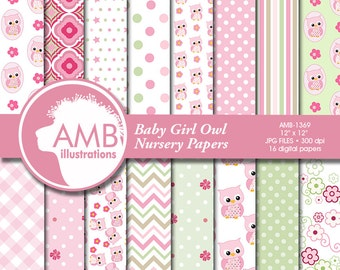 Nursery digital papers, Baby papers, Newborn papers, Nursery Pastel papers, Owl digital papers, commercial use, AMB-1369