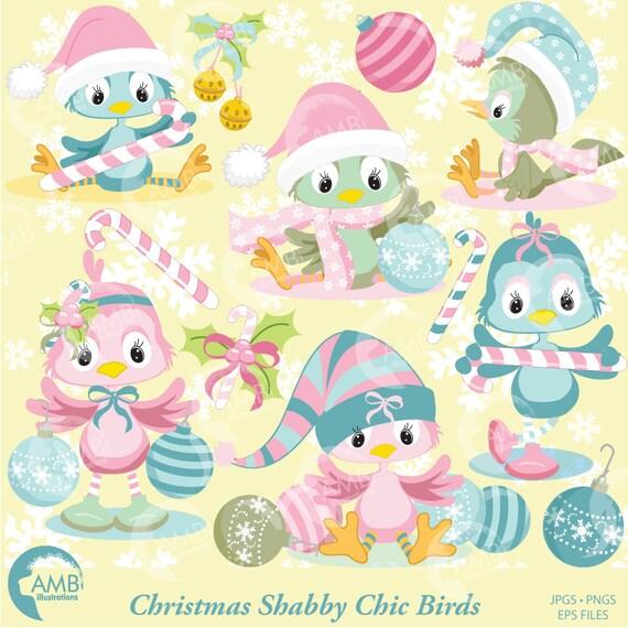Christmas Shabby Chic Bird Clipart Christmas Birds clipart