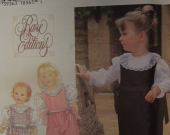 Simplicity 9847, Rose Editions, childrens, girls, toddlers, UNCUT sewing pattern, craft supplies, romper and blouse