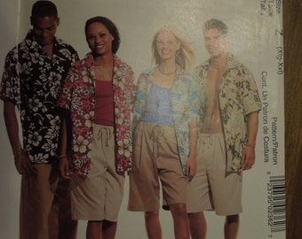 McCalls P236, sizes XLarge to XXlarge, mens, womens, teens, UNCUT sewing pattern, craft supplies, shirts and shorts