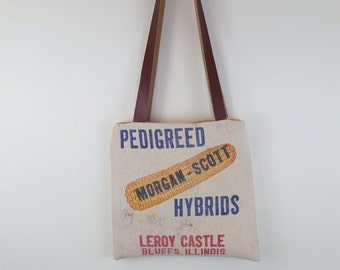 Vintage Morgan-Scott Seed Bag Tote Repurposed, Medium, Reversible, market tote, reused, pedigreed hybrids