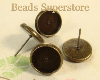 Tray 10 mm Antique Brass Ear Stud - Nickel Free, Lead Free and Cadmium Free - 10 pcs