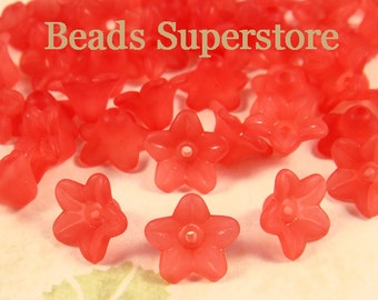 SALE 10 mm x 5 mm Red Lucite Flower Bead - 60 pcs