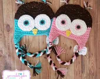 Owl Crochet Hat-Teal or Pink
