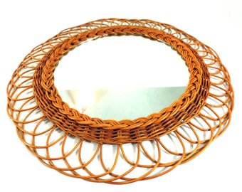 Vintage French Mirror/ French Vintage Wicker Sunburst Mirror/Rattan Sun Mirror