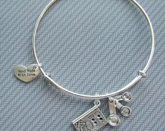 Expandable bangle Kiss the Cook bracelet, charm bracelet, stackable bracelet