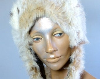 Beige real fur pixie hat hood - mod winter ski fashion - French 60s 70s vintage