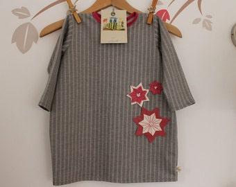 Toddler clothing,Cotton dress,Girls tube dress, Grey  dress,Felt stars,Girls fashion