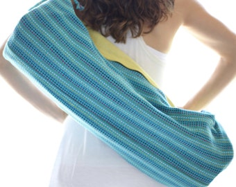 2 Zip Artisan Made - Hand Woven Yoga Mat Bag - Turquoise w/ Multi Colored Dots