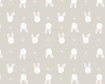 Bunny Garden A150-1 Leo Bunny on light grey Lewis & Irene Patchwork Quilting Fabric