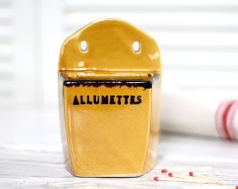"""Vintage matches ceramic box """"allumettes"""". French vintage box. Holder ceramic matches. Matches pot. French pottery. Pottery for matches."""