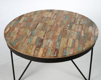 Round coffee table colorful recycled wood