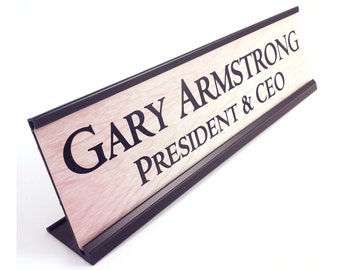 Personalized desk name plate office gift wood look with black metal holder 2 x 8 inches great teacher gift