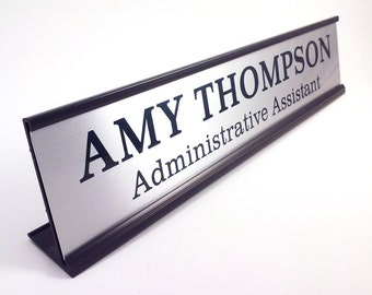 Personalized Desk Name plate nameplate name plaque Silver with Black Metal Holder Large 2 x 10 inches