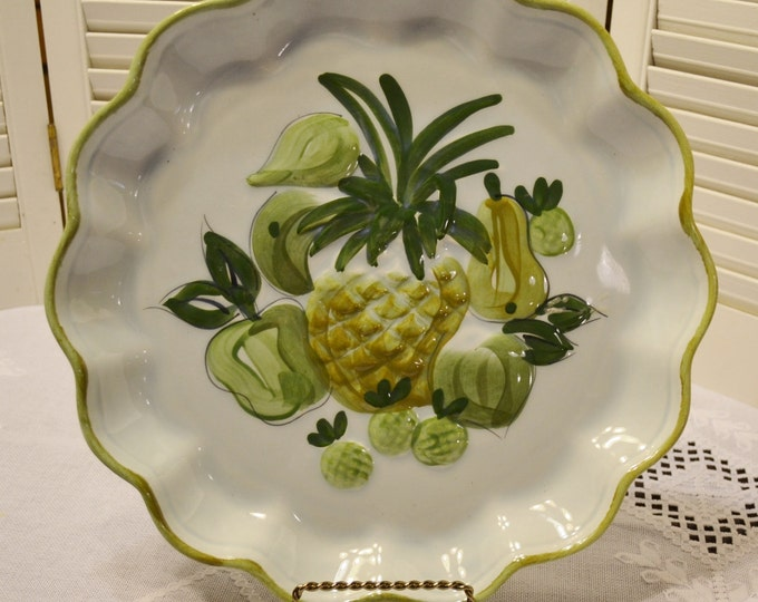 Vintage Los Angeles Pottery Platter Tray Pineapple Fruit Design Green PanchosPorch