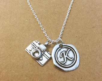 Camera Initial Personalized Charm Necklace