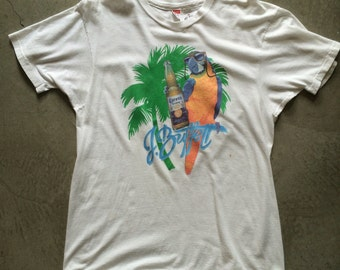 80s Jimmy Buffet Corona extra Parrot T shirt Margaritaville cheeseburger in paradise Parrothead