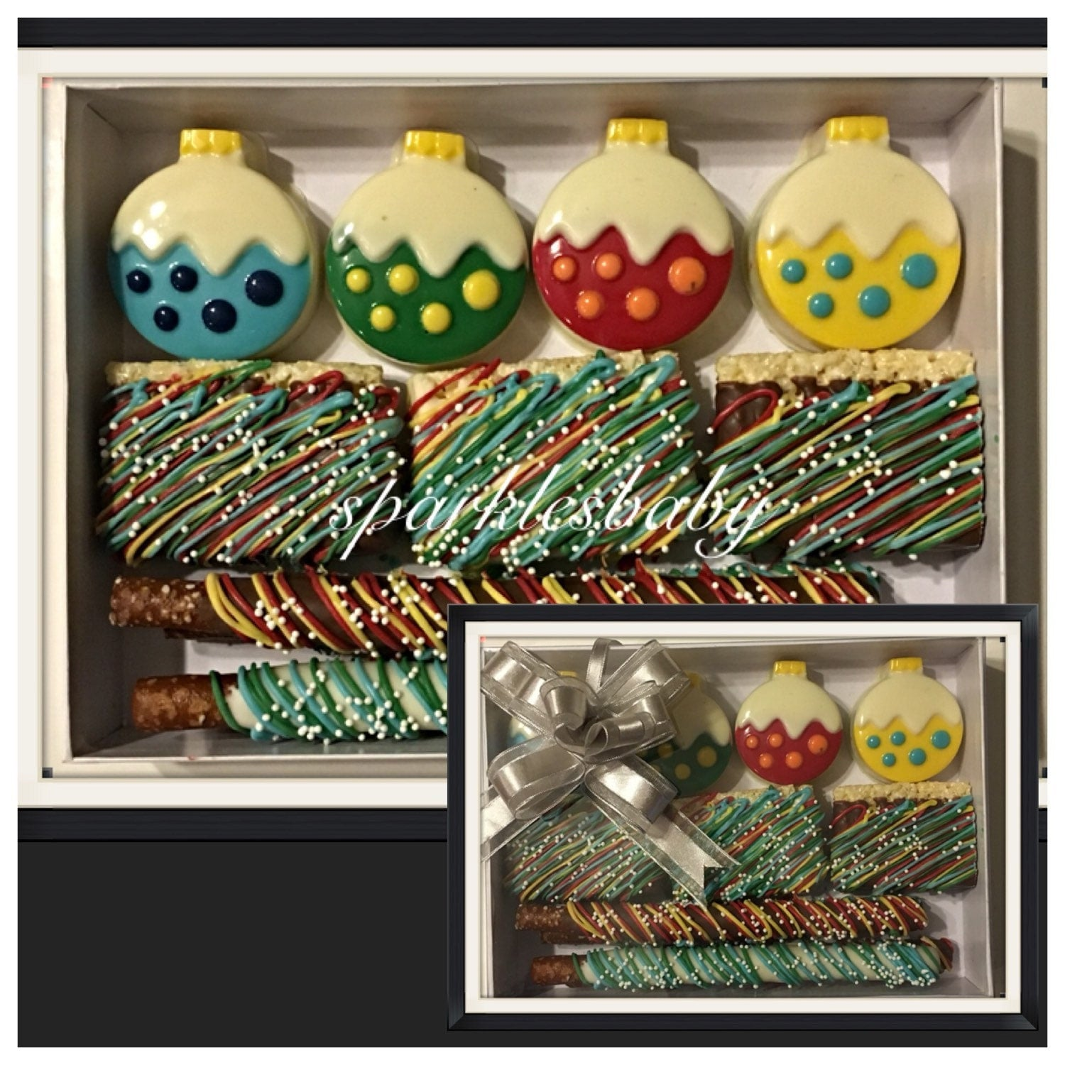 Christmas and holiday gift box ornament gourmet chocolate