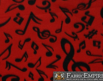 Fleece Fabric Printed Anti Pill Black Musical Notes Red Background Sold By The Yard N 2069