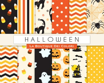 Orange and Black Halloween digital paper. Cute digital paper pack of Spooky backgrounds patterns for commercial use clipart