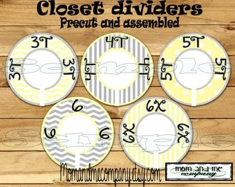 Toddler closet dividers Children clothes dividers Size Dividers Rod Hangers Custom dividers Grey yellow Dividers 5 PRECUT Assembled  decor