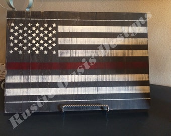 Thin Red Line Distressed Flag - Firefighter Sign