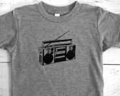 Cool Boom box Toddler shirt! American Apparel kid t-shirt.