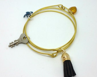 Enamel Charm Bracelet Bangle Set Brown & Gold Charm Bangles Boho Bangle Set Stacking Bangles