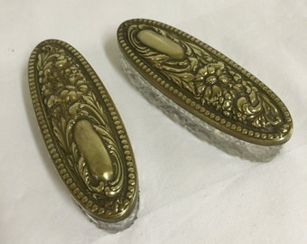 Glass and Brass Trinket Boxes - Set of 2