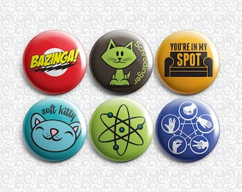Big Bang Theory 6 Pack - Pinback Badge / Magnets / Sticky