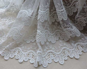 Retro Embroidered Lace Off white Layers Cotton Lace Trim Bridal Mesh Lace Fabric