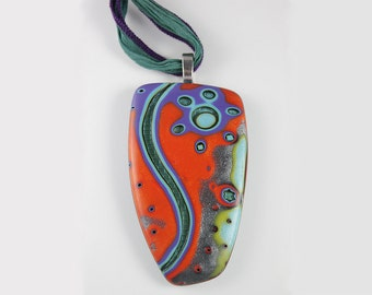 Polymer Clay Pendant Red and Blue