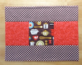 Sale - Handmade Quilted Patchwork Placemat with Cooking, Kitchen Print Fabric, Unique and Fun, Table Topper