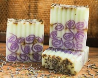 4 oz Swirl Embed Only Glycerin Soap Purple Green- Pretty Homemade Bar Soap- EO Soap- Lavender Rosemary Soap- Pretty