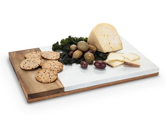 Country Cottage: Marble & Wood Cheese Board, personalized cutting board, gift for her, gift for him, housewarming gift, personalized gift