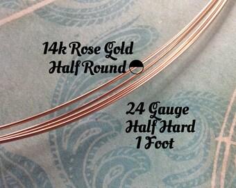 15% Off Shop! 14K ROSE Gold Filled Wire, HALF ROUND, 24 Gauge, 1 Foot, Half Hard