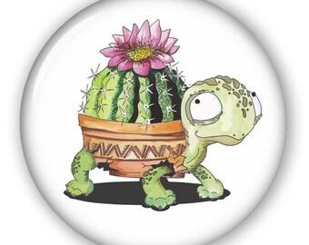 Turtle Cactus: Button, Keychain, Mirror, Magnet or Bottle Opener